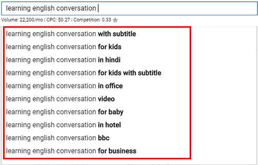 Youtube search bar for long tail keyword ideas generation