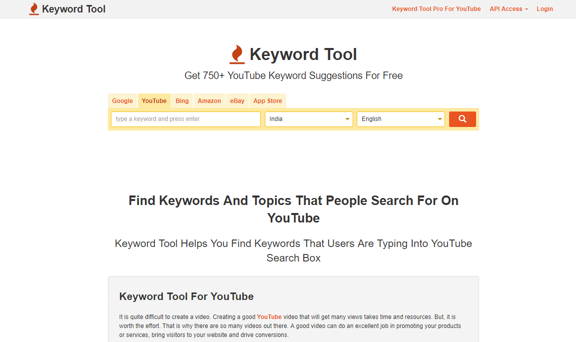 keywordtool.io is a tool for YouTube keyword research